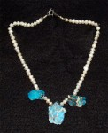 Three jasper and freshwater pearl necklace