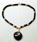 Onyx, Pink Freshwater Pearl with Monkey's Heart