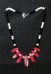 Red Agate with pearl & Onyx